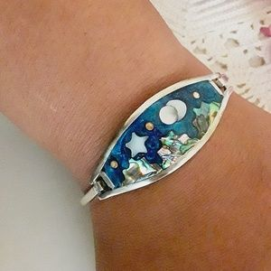 Vtg Alpaca Silver Inlayed Desert Sky Bracelet